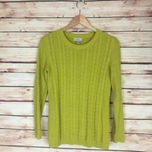 LOFT Outlet Yellow Knit Sweater Crew Neck Small